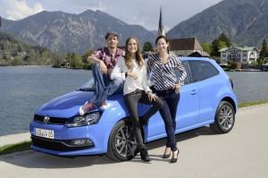Schauspieler Max von Thun, Model Alena Gerber und Sa ngerin Siri Svegler (v.l.n.r.) bei der Fahrpra sentation des neuen Polo und Cross Polo - Foto: AmpNet